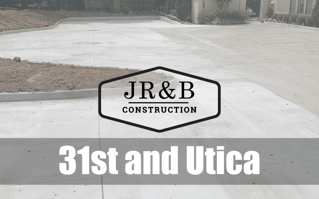 Concrete slab background with the JR&B logo set against it and words 31st and Utica overlaid on it