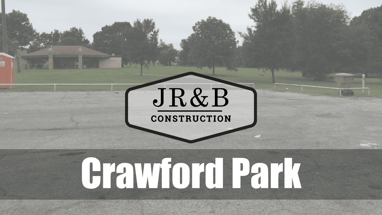Concrete slab background with the JR&B logo set against it and words Crawford park overlaid on it